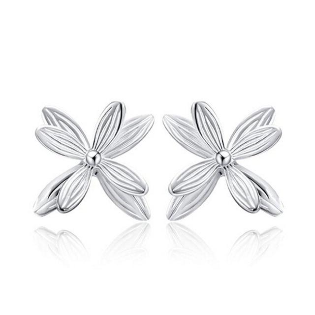 Fashion 925 Silver Stud Earrings Four Leaf Clovers Flower Earrings