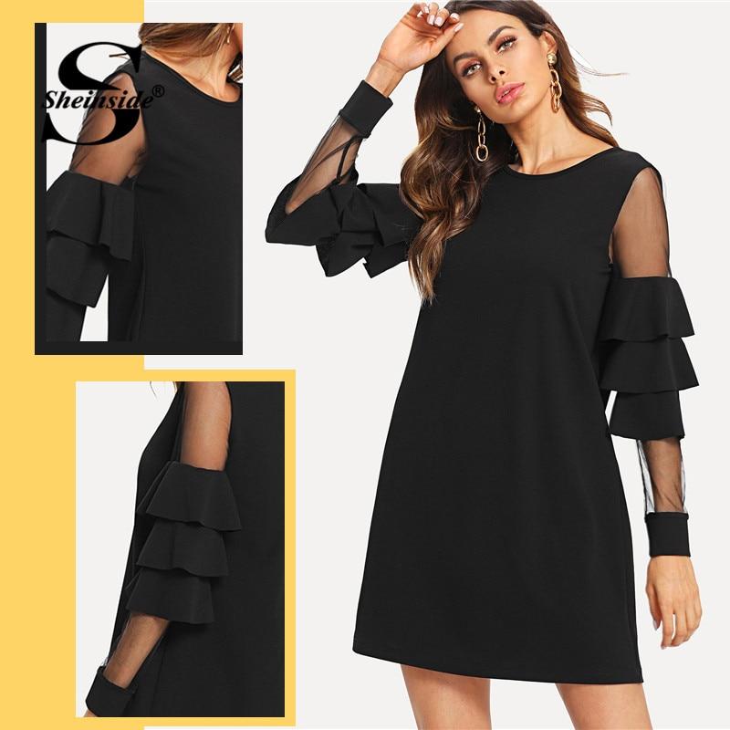 Sheinside Ruffle Long Sleeve Black A Line Work Dresses Ladies Contrast Mesh Tiered Layer Straight Women