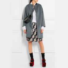 Elegant Medium Long Design Women Woolen Jacket, Single Breated Gray Wool Coat