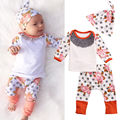 2016 ins Flower dot baby girl clothing set long sleeve tshirts+ pants+caps 3pcs Infant bebe girl clothes set toddler cloth set