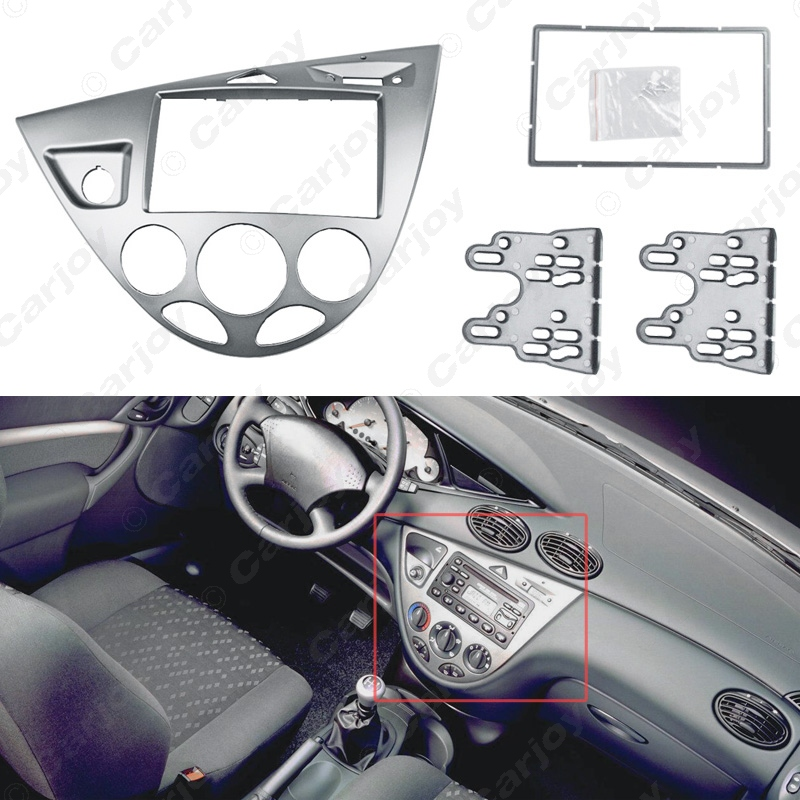 ФОТО Silver Car 2DIN Stereo Panel Fascia Radio Refitting Dash Trim Kit For Ford Focus 98~04(LHD)/Fiesta 95~01(LHD) #CA5054