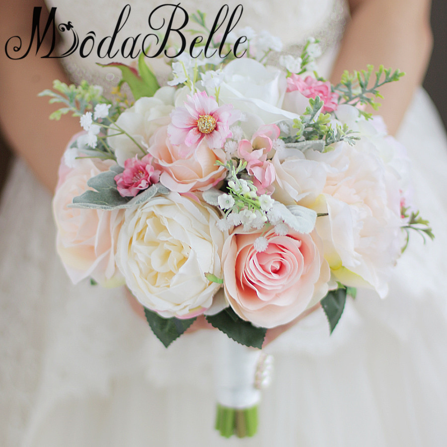 Pink Wedding Flowers: Modabelle Bridal Flower 2017 With Green Leaves Pink Ivory
