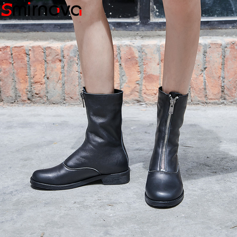 Smirnova big size 34-43 fashion shoes woman round toe women boots zip low heels mid calf boots natural genuine leather boots smirnova big size 34 43 fashion shoes woman round toe women boots zip low heels mid calf boots natural genuine leather boots