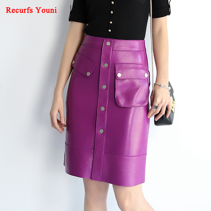 Fahion Roupas Women Genuine Leather Asymmetric Large Pocket Pencil Skirts Femme Slim Wrap Saia Midi Faldas