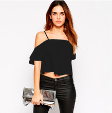 Women's Crop Top Straps Ruffled Short Sleeve Top Casual Summer Cami