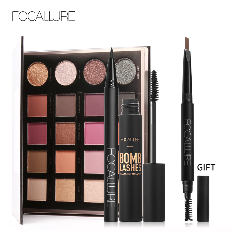 Buy 3 Get 1 Gfit FOCALLURE Black Color Mascara Liquid Eyeliner Pencil 20 Colors Shimmer Pigment Eyeshadow with Eyebrow 7913 black silk essence liquid eyeliner pencil makeup pink 6ml