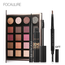 Buy 3 Get 1 Gfit FOCALLURE Black Color Mascara Liquid Eyeliner Pencil 20 Colors Shimmer Pigment Eyeshadow with Eyebrow
