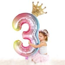 2 יח\חבילה 30 אינץ מספר בלוני רדיד מיקי מיני דיגיטלי בלון דינוזאור בלון כתר Ballon ילדים מסיבת יום הולדת קישוטים