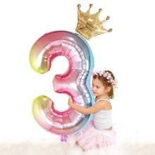 Globos de aluminio con número de 30 pulgadas para niños globo Digital de Mickey y Minnie, corona, decoración para fiesta de cumpleaños, 2 unidades por lote