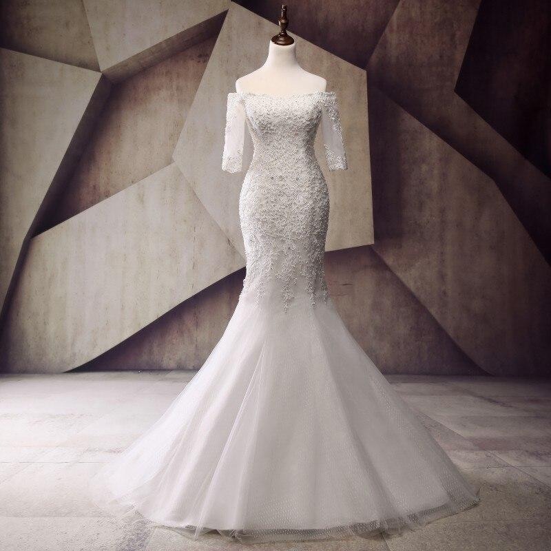 Pretty Mermaid Wedding Dresses Half Sleeve Vestido de noiva 2017 Luxury Pearls Lace Wedding Gowns Custom Made Bridal Dresses