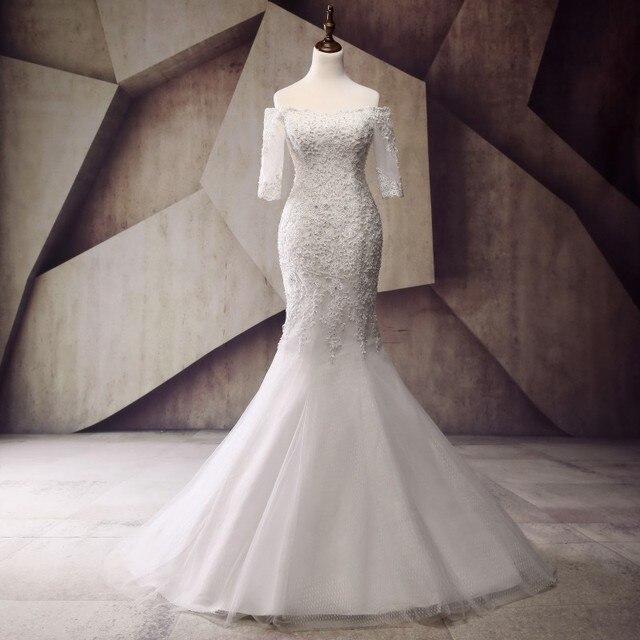Pretty Mermaid Wedding Dresses Half Sleeve Vestido de noiva 2017 ...
