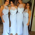 2016 Cheap Mermaid Junior Bridemaids Dresses Halter Neck Sleeveless Party Gown Plus Size Maid Of Honor Dress