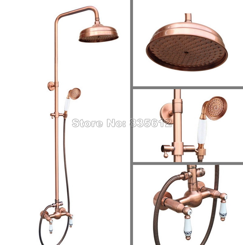 Antique Red Copper Dual Ceramic Handles Mixer Tap Bathroom Classic Wall Mounted Rain Shower Faucet Set W/Handheld Shower Wrg554 multi functional ceramic knives w anti skid handles peeler set black
