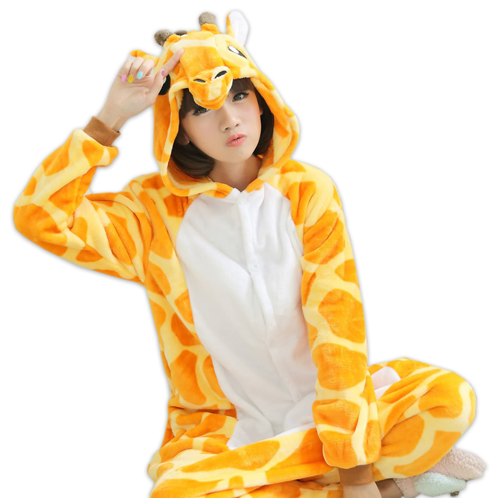 Cute giraffe Flannel Adult onesies women animal cosplay coral velvet Couples cartoon women pyjamas sets onesies for adults ...
