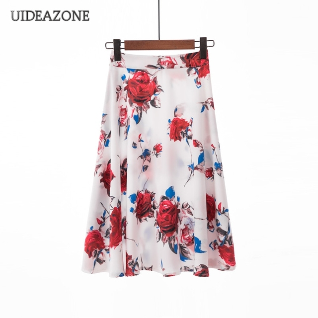 c569cbe131bdb US $9.79 16% OFF|High Waist Midi Skirt Fashion Floral Print Women Skirts  Summer Pleated Red Flower Printed Boho Skirts Beach Wear-in Skirts from ...