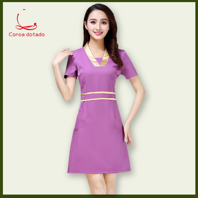 New beautician work clothes summer beauty salon work clothes dress health maintenance technician clothing embroidered words in Nurse Uniform from Novelty Special Use