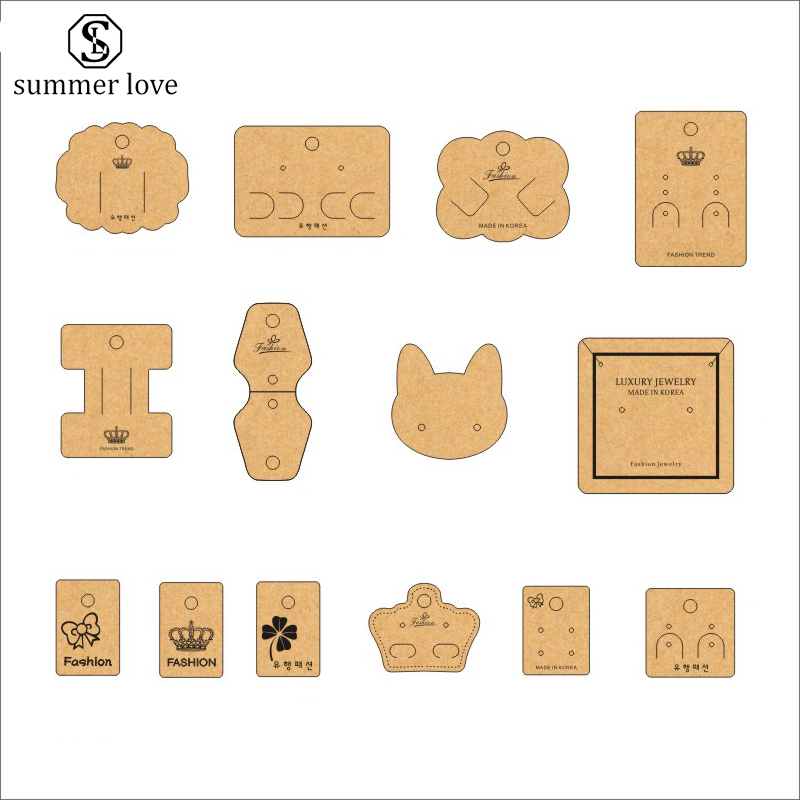 Kraft Paper Card Brooch Necklace Earrings Display Cards Jewelry Tag Holder Card Customize Logo/Shape/Size Design Wholesale image