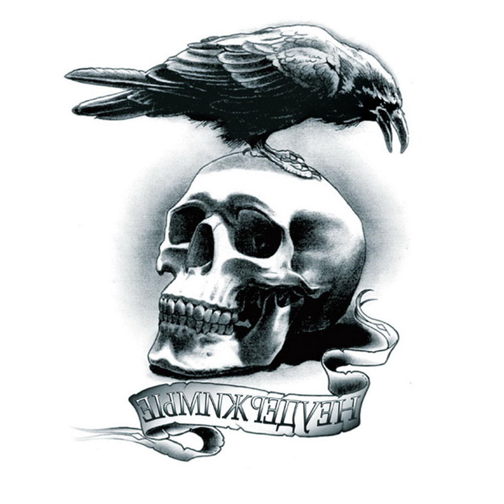 Yeeech Temporary Tattoos Sticker for Men School Boy Fake Large Lonely Skull Eagle Designs Arm Leg Body Art Makeup Waterproof