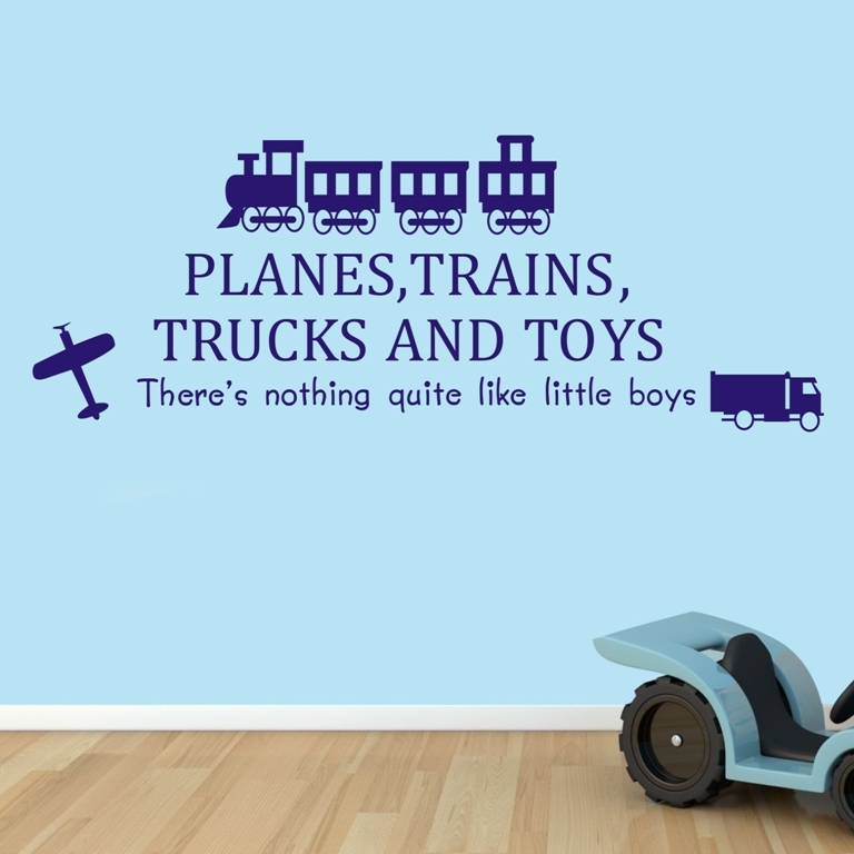 Boy S Room Wall Decoration Planes Trains Trucks And Toys Wall Quote Art Decals Vinyl Diy Wall