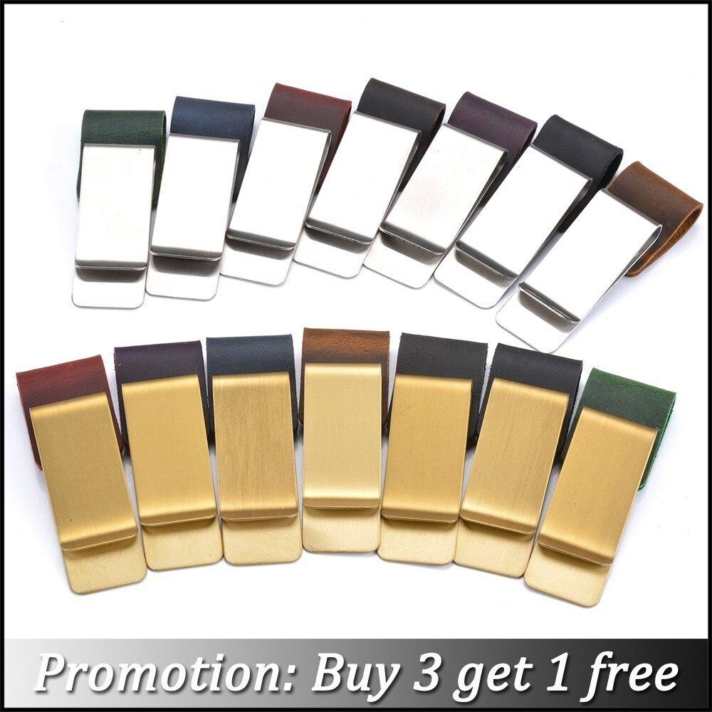 Pince à crayons Moterm en métal porte-stylo en cuir en laiton et en acier inoxydable pour Journal en cuir véritable