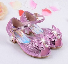 Summer 2017 Children Princess Sandals Kids Girls Wedding Shoes High Heels Dress Shoes Party Shoes For Girls Leather Bowtie