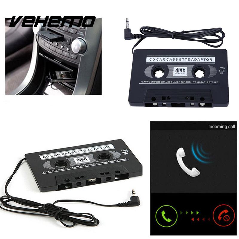 Vehemo 3.5mm AUX Input Car Jack Cassette Tape Adapter Convertor Audio Cable Transmitters For Smart MP3 CD MD MP4 Music Adapter