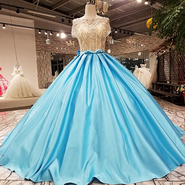 12774 Schärpe Strass Abendkleid Eis Blau Farbe Jacquard Spitze Perlen Abendkleid