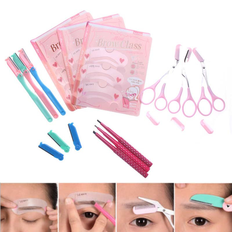 Hot Sale Eyebrow Trimmer Scissors Hair Remover Set Portable Eye Brow Shaver With Stencil Styles Template Shaping Shape Kit