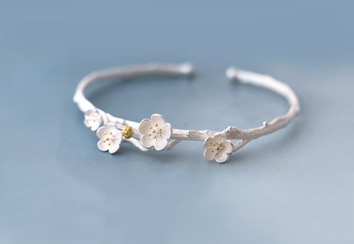 Moda Plata flor de ciruelo Brazaletes Brazalete Brazaletes de flores - Bisutería