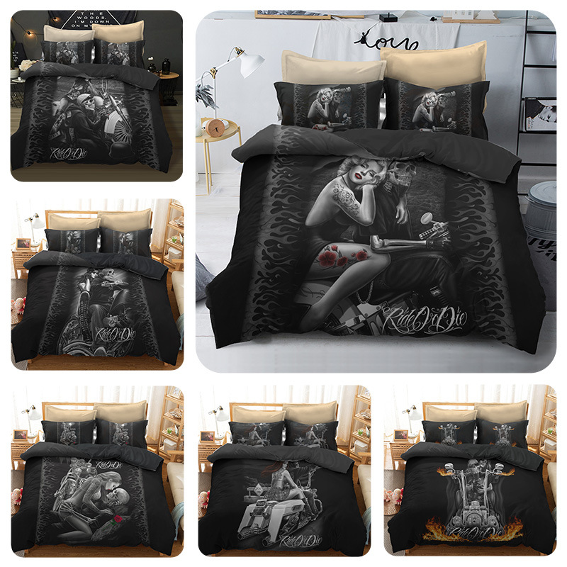 3D Women And Skull Bedding Sets  Sugar Skull And Motorcycle Duvet Cover Bed Cool Skull Print Black Bedclothes Bedline