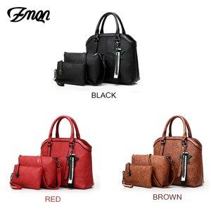 Image 5 - Zmqn bolsas de mão feminina saco 3 conjuntos 2020 combinação do vintage bolsa crossbody para as mulheres couro do plutônio bolsa senhora feminina c653