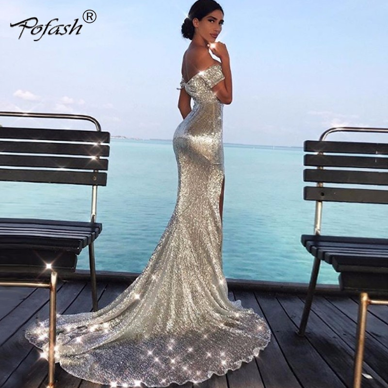 POFASH Off The Shoulder Paillette Sequins Dress Bodycon Maxi Evening Party Dresses Women Sexy Silver Solid Long Dress Vestidos-in Dresses from Women's Clothing