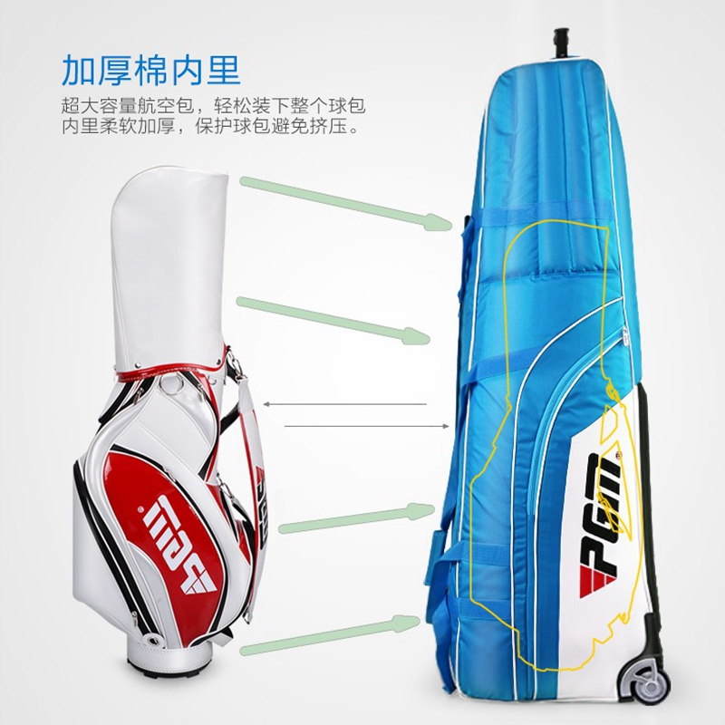 Brand PGM, Golf Travel Bag Airplane Traveling Cover Case Carrier. Stand Golf Caddy Bag Can Be Put In. Thicker Soft Sponge Inside