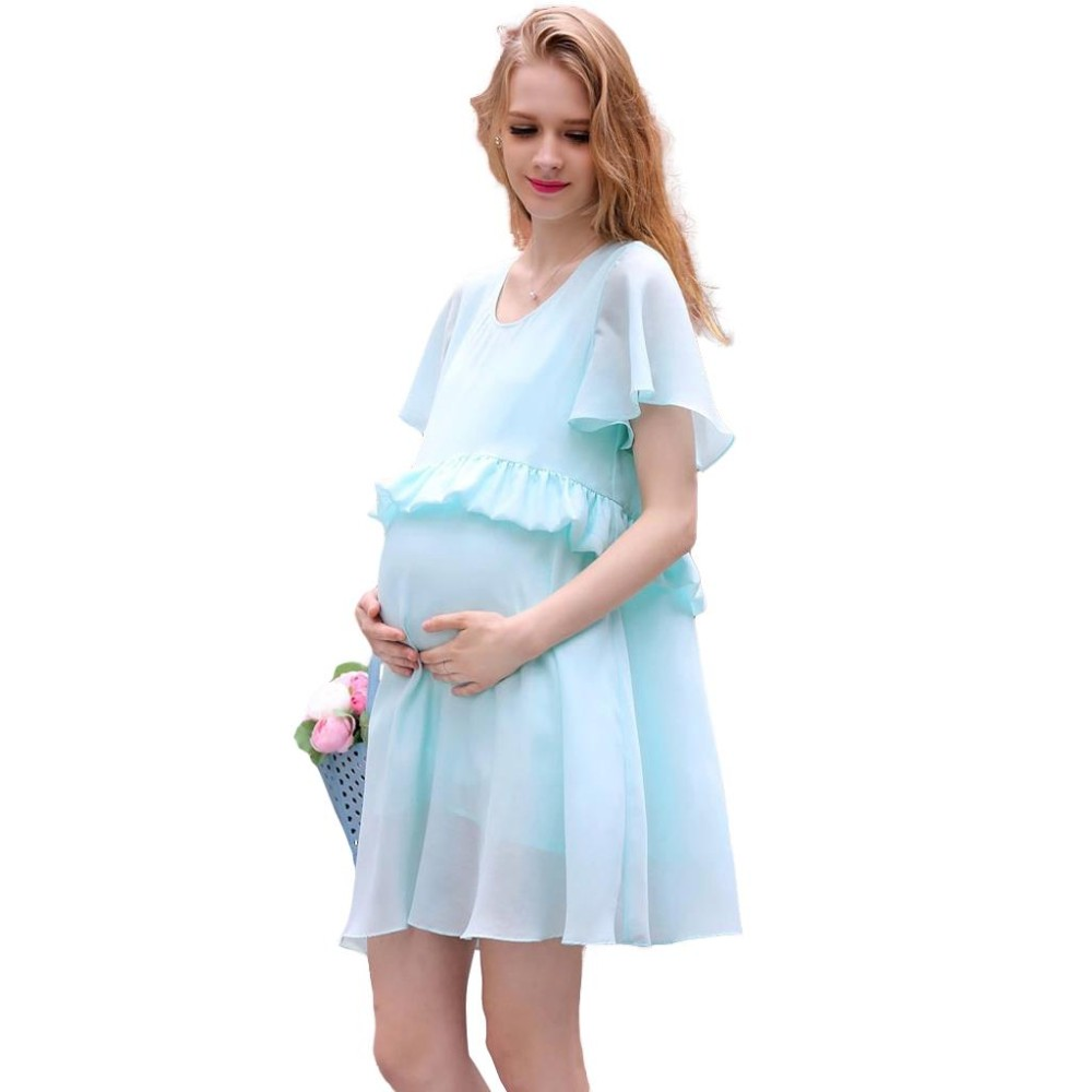 Maternity dress pregnant clothes sky blue summer solid 2016 loose maternity dress pregnant clothes sky blue summer solid 2016 loose plus size clothing women ladies chiffon in dresses from mother kids on aliexpress ombrellifo Images