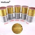 Шнур золотистый/серебристый, 0,2/0,4/0,6/0,8/1 мм