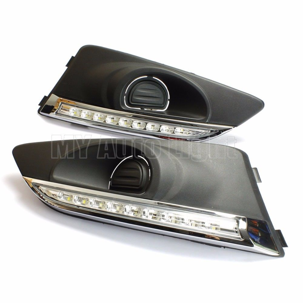 Set Black Fog Lamp Spot Light Fit Chevrolet Colorado: LED Daytime Running Lights DRL Aveo Fog Lamp Cover For