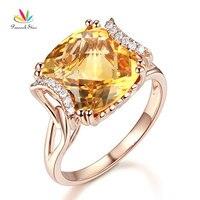Peacock Star Fine 14K Rose Gold Luxury Anniversary Ring 6 Ct Cushion Yellow Citrine Diamond