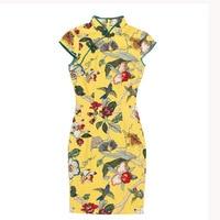 2018 Summer New Chinese Traditional Mini Dress Women Short Qipao Fashion Cotton Linen Cheongsam Flower Mujer Vestido 120520