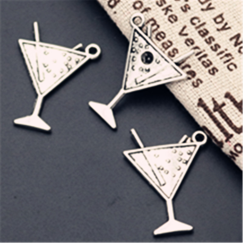 WKOUD 8pcs Antique Silver Cocktail Triangle Cup Charm Fashion Earring Bracelet DIY Metal Jewelry Alloy Pendants A950