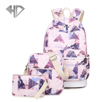 Canvas Fashion Women Backpack 3 Pcs Set School Bags Simple Casual Printing Backpack Large Capacity Zipper