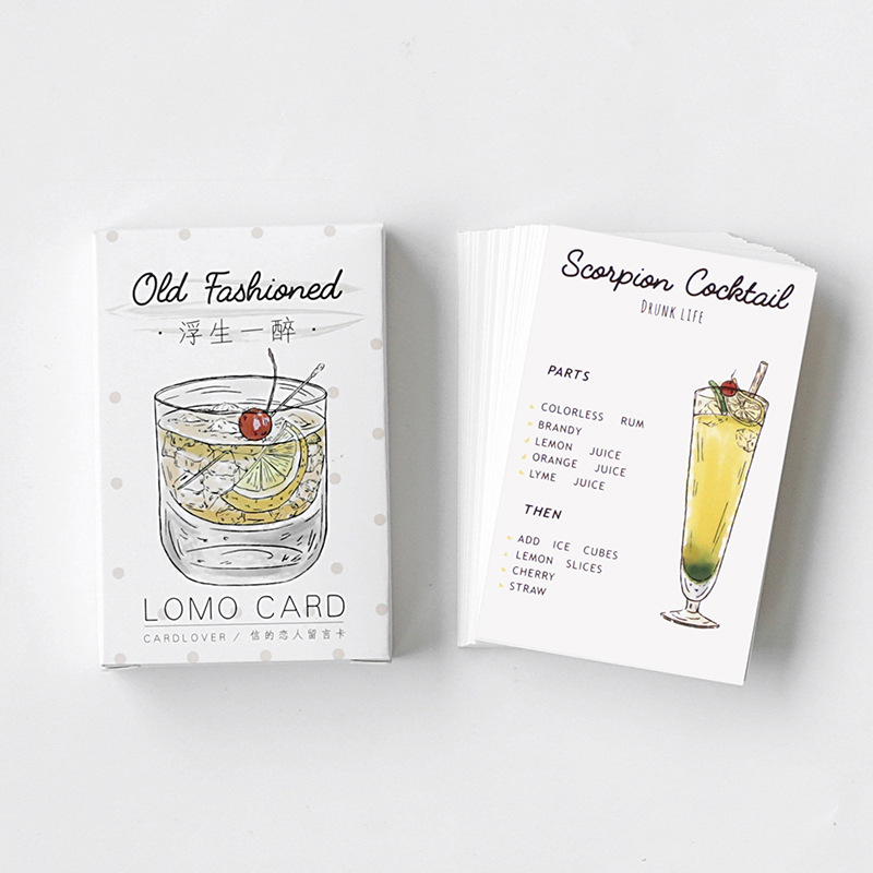 28 sheetsset colorful drink drunk life mini greeting card postcardwish card