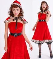Latest Little Red Riding Hood Off Shoulder Dress Leopard Edge Women Queen Cosplay Dress For Halloween