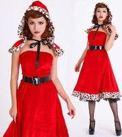 Najnowsze Little Red Riding Hood Off Shoulder Dress Leopard Krawędzi Kobiety Królowa Cosplay Sukienka Na Halloween BI72