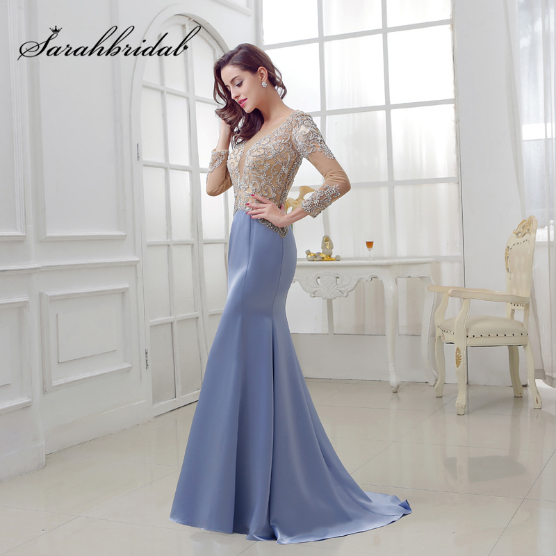 Elegant Periwinkle Blue Mermaid   Evening     Dresses   with Beading Crystal Illusion Bodice Satin Long Sleeve Women Maxi Party Gowns