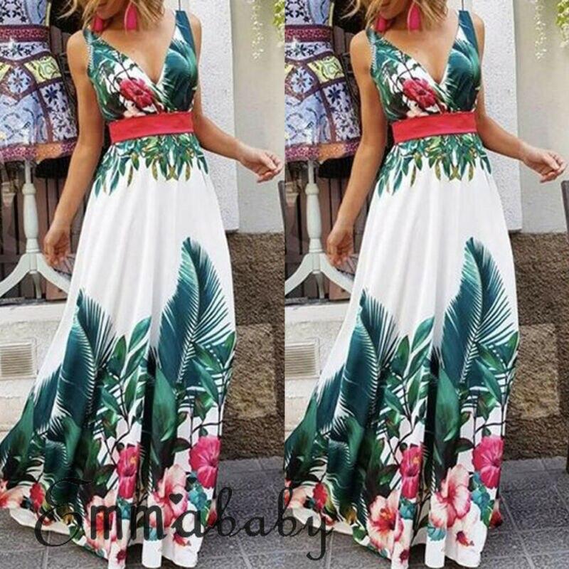 Boho Ladies Floral Maxi Dress Summer Holiday Sleeveless Beach Casual Club Bar