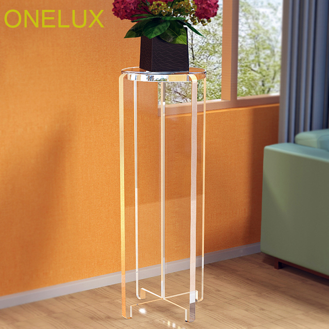 High Transparent Lucite Art Flower/Plant/Sculpture Stand,Acrylic Pedestal  Corner Table