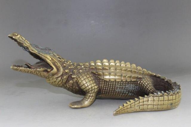 26 см */Китайский Старый латунь ручной резьбой Аллигатор статуя хобби коллекционирования