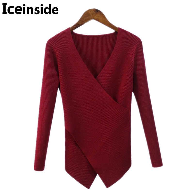 겨울 새로운 한국 여성 크로스 v 목 풀오버 여성 니트 긴 소매 섹시한 두꺼운 따뜻한 불규칙한 스웨터 당겨 저지 저지