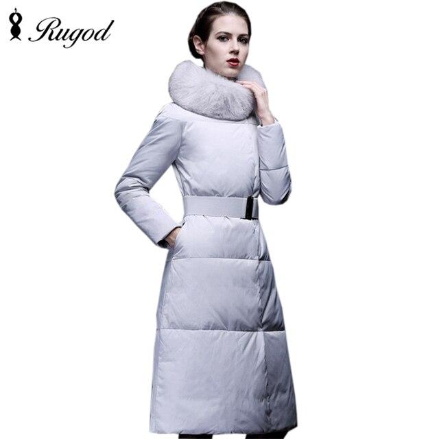 2017 Pato Abajo Las Mujeres Chaqueta de Invierno Largo Abrigo Parkas Abrigo casaco Femenino Engrosamiento Ropa de Abrigo de Cuello de Piel de Alta Calidad