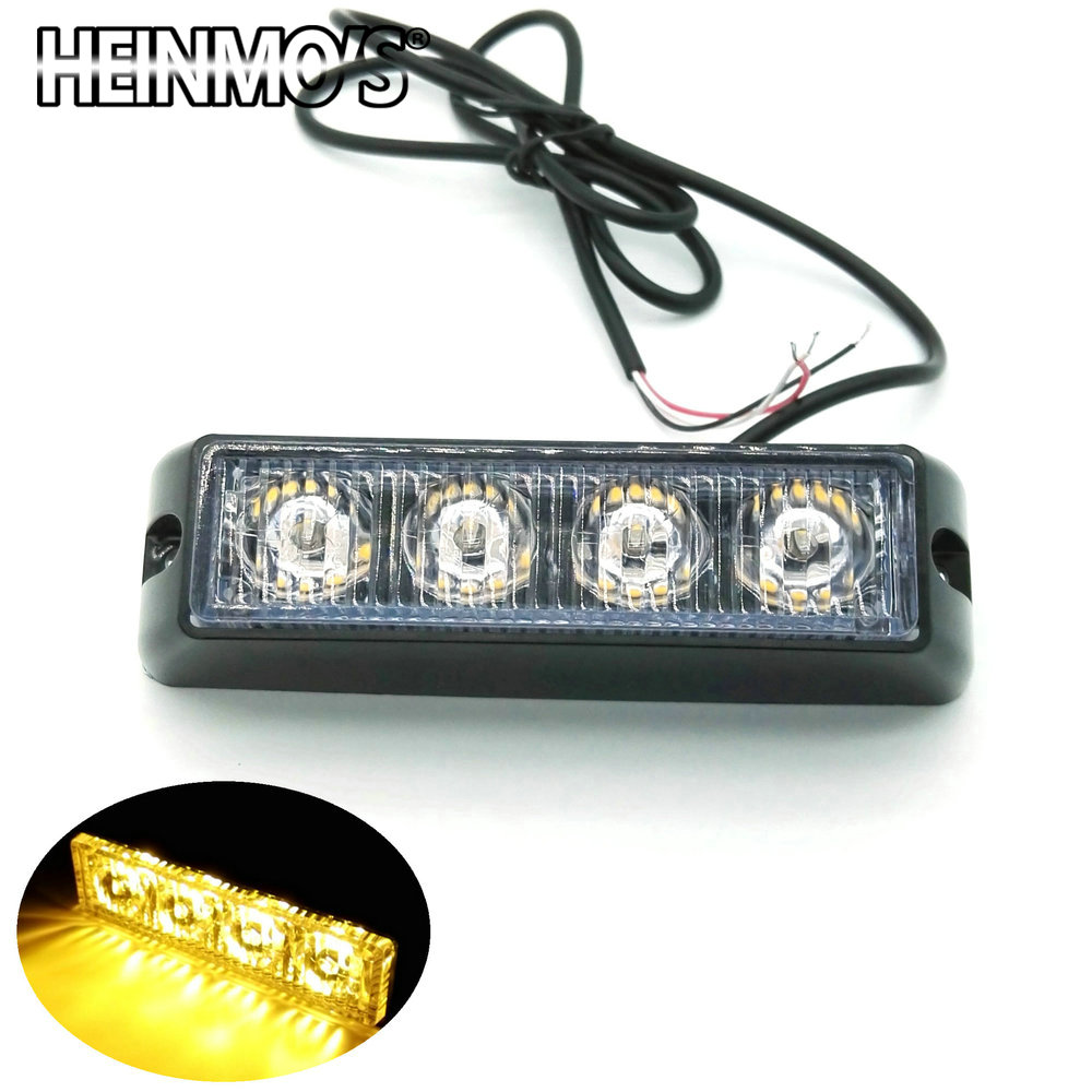 3 LED / 4 led Car Truck Flash mistlamp, noodwaarschuwingslamp, 12v 24v led stroboscoop